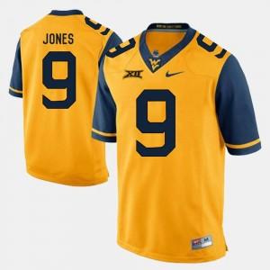 Alumni Football Game #9 Adam Jones West Virginia Mountaineers Jersey Gold Men's