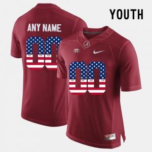 US Flag Fashion Kids Bama Custom Jersey #00 Crimson