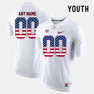 Alabama Crimson Tide Custom Jersey #00 Kids White US Flag Fashion