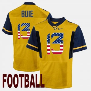 US Flag Fashion #13 For Men Andrew Buie West Virginia University Jersey Gold