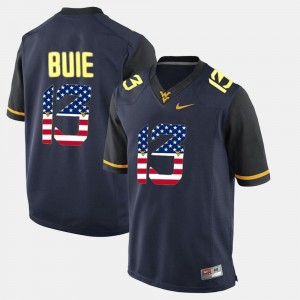 Andrew Buie WVU Jersey Navy Blue US Flag Fashion #13 Men