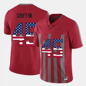 Archie Griffin OSU Jersey US Flag Fashion For Men Scarlet #45
