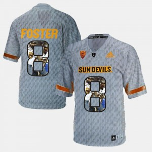 For Men's D.J. Foster Arizona State Jersey Player Pictorial Gray #8