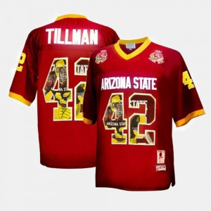 Men #42 Throwback Pat Tillman Arizona State University Jersey Maroon