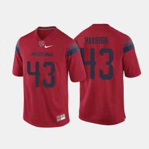 College Football Men's Lucas Havrisik Arizona Wildcats Jersey Red #43