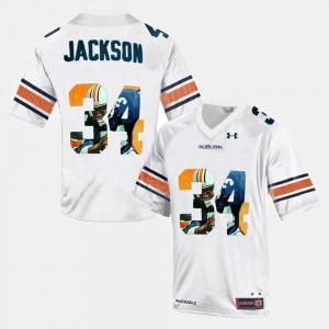 #34 Bo Jackson Auburn University Jersey White For Men's Throwback