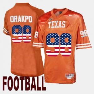 Brian Orakpo UT Jersey #98 Orange US Flag Fashion Men