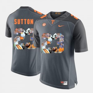 Cameron Sutton Tennessee Volunteers Jersey For Men Grey #23 Pictorial Fashion