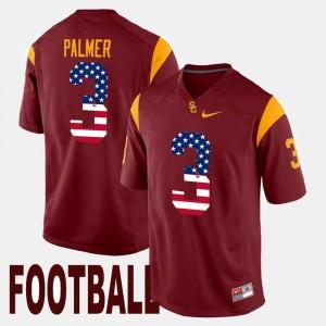 Carson Palmer Trojans Jersey For Men's US Flag Fashion Maroon #3