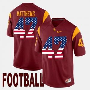 Clay Matthews USC Jersey US Flag Fashion Maroon For Men #47