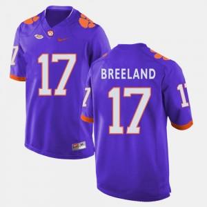 #17 Bashaud Breeland Clemson University Jersey For Men College Football Purple