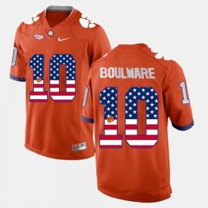 Orange Ben Boulware Clemson Tigers Jersey #10 US Flag Fashion Mens