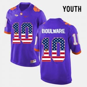 For Kids Purple #10 Ben Boulware Clemson Jersey US Flag Fashion