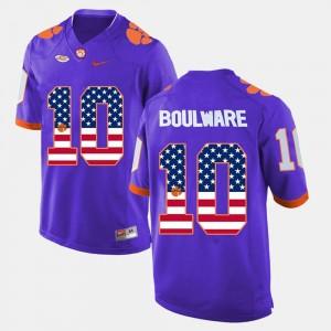 Men Ben Boulware Clemson University Jersey US Flag Fashion Purple #10