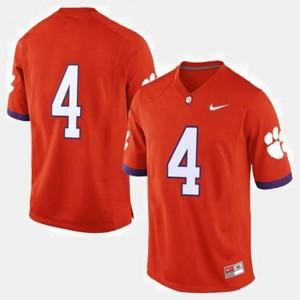 Orange Clemson Jersey #4 College Football Men