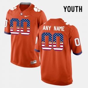 #00 Youth US Flag Fashion Orange Clemson National Championship Customized Jersey