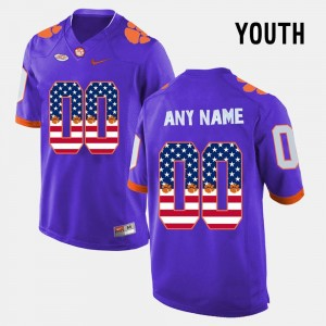 Clemson Custom Jerseys Youth(Kids) Purple #00 US Flag Fashion