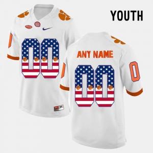#00 Youth(Kids) White US Flag Fashion Clemson National Championship Customized Jerseys