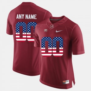 Bama Customized Jerseys US Flag Fashion #00 Crimson Mens