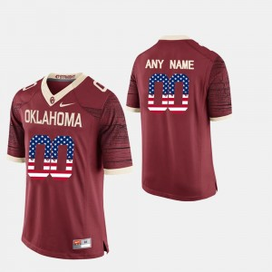 US Flag Fashion #00 Men Crimson Oklahoma Sooners Customized Jerseys