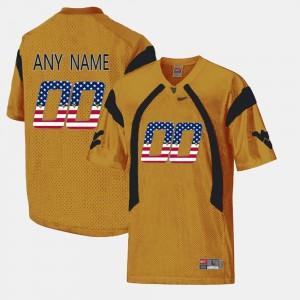 US Flag Fashion WVU Custom Jerseys Men's #00 Gold