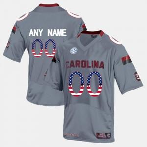 Gamecocks Customized Jerseys For Men's US Flag Fashion Grey #00