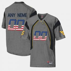 Mens US Flag Fashion Grey #00 West Virginia Custom Jersey
