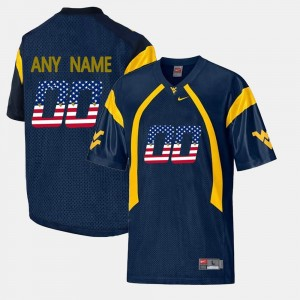 Navy Blue US Flag Fashion West Virginia Customized Jersey For Men #00