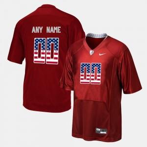 For Men #00 Red University of Alabama Customized Jersey US Flag Fashion