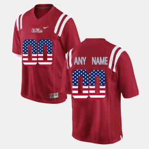 For Men's Rebels Customized Jerseys US Flag Fashion #00 Red