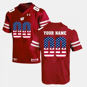 #00 US Flag Fashion University of Wisconsin Customized Jerseys For Men Red