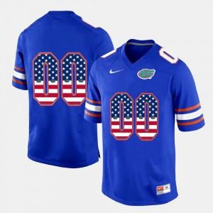 Royal Blue For Men's University of Florida Custom Jersey #00 US Flag Fashion