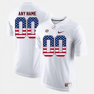 US Flag Fashion University of Alabama Customized Jersey White Mens #00