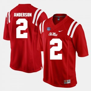For Men Red #2 Deontay Anderson Ole Miss Rebels Jersey Alumni Football Game