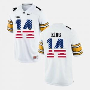 US Flag Fashion #14 For Men's White Desmond King University of Iowa Jersey