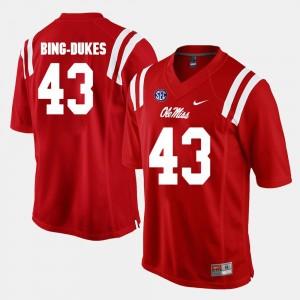 #43 Alumni Football Game Detric Bing-Dukes Rebels Jersey Mens Red