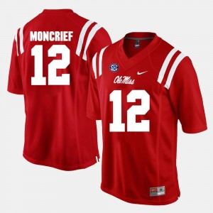 #12 Alumni Football Game Red Donte Moncrief University of Mississippi Jersey For Men's