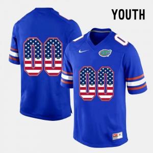 Blue Youth #00 US Flag Fashion Florida Gators Customized Jerseys