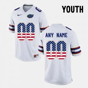 #00 For Kids US Flag Fashion White Florida Custom Jersey