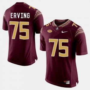 For Men #75 Cameron Erving Florida State Jersey College Football Garnet
