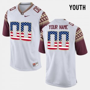 White #00 For Kids Florida State Customized Jersey US Flag Fashion