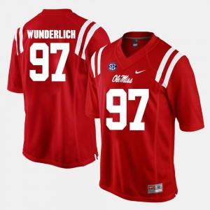 Red Alumni Football Game Men's #97 Gary Wunderlich University of Mississippi Jersey