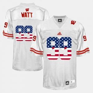 White For Men's J.J. Watt University of Wisconsin Jersey US Flag Fashion #99