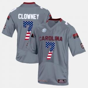 Gray US Flag Fashion Men's #7 Jadeveon Clowney South Carolina Gamecocks Jersey