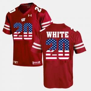 US Flag Fashion James White Wisconsin Jersey Maroon Men #20