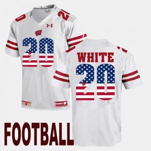 #20 US Flag Fashion James White Wisconsin Badgers Jersey White Men's