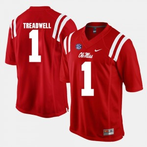 #1 Laquon Treadwell University of Mississippi Jersey Red For Men Alumni Football Game