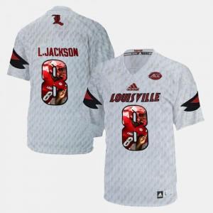 #8 White Lamar Johnson Louisville Cardinals Jersey Player Pictorial For Men
