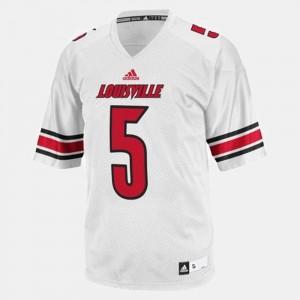 #5 For Men's White Teddy Bridgewater Louisville Cardinals Jersey College Football
