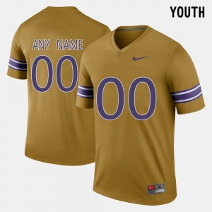 #00 Throwback Gridiron Gold LSU Tigers Customized Jerseys Youth